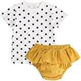 junliuTT 女の子 新生児 赤ちゃん コットン 衣類 セット 格子 ドット 花 プリント 可愛い 韓国子供服 服 (12?18ヶ月, BCS7048)0-6ヶ月 BCS7050