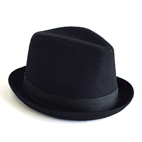 Clack メンズ 帽子 / 中折れ ハット リボンデザイン ウール メルトン 上品アイテム 41.ブラック Free [ 毛50% ポリエステル50% ] 【正規品】