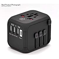 Travel Adapter, All in one Worldwide Power Adapter Travel Plug, Fast Charging USB Type C, Smart USB Ports, Auto Fuse, International Plug Converter AUS, EU, US, UK, 220 Countries, AC Power Wall Plug