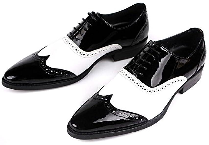貯水池降下計り知れない2016年New メンズビジネスシューズ 本革 レザー 牛革 ウィングチップ レースアップ ヨーロピアン 紳士靴 全1色 ホワイト×ブラック DJ-037(2)
