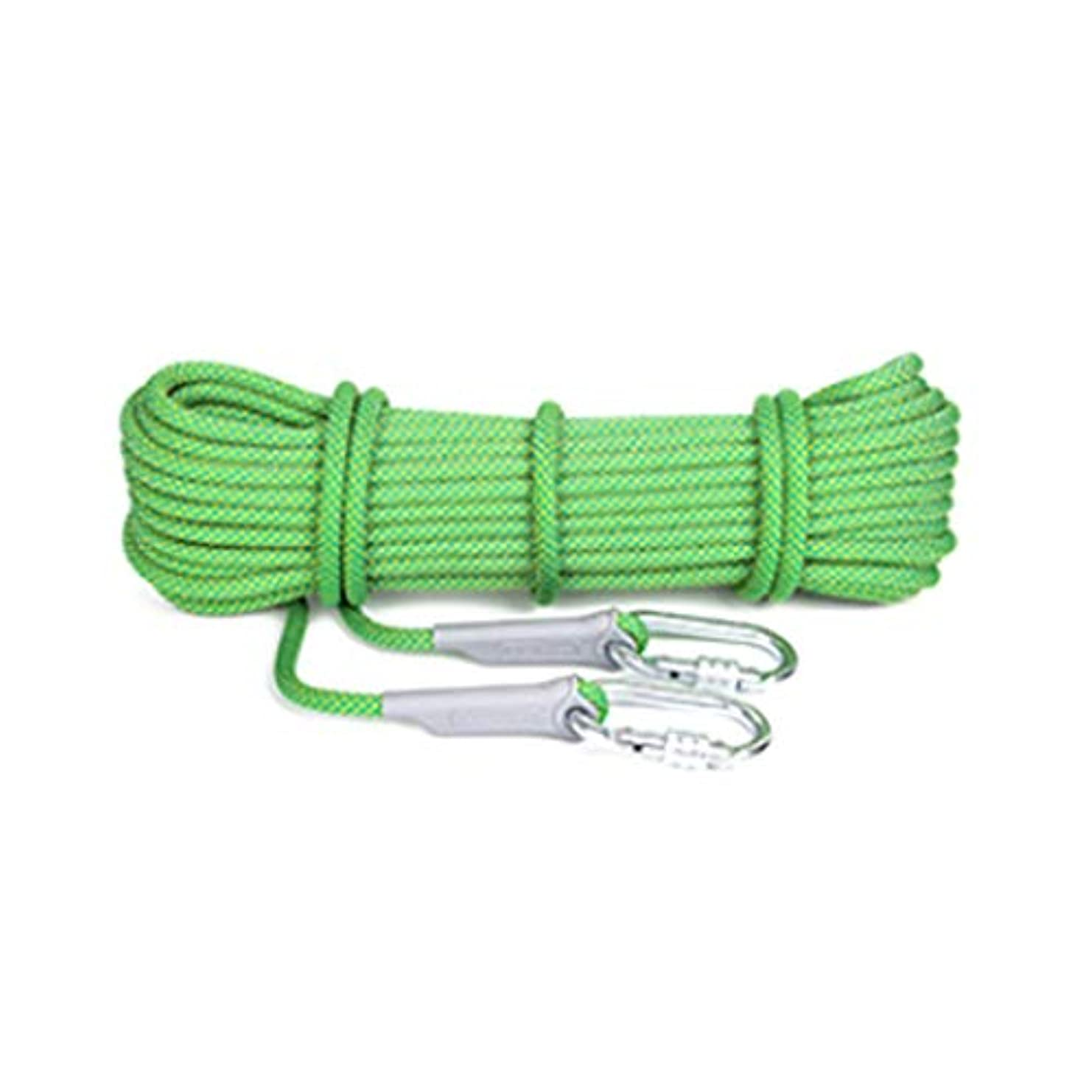 テーブルシガレット裕福なクライミングロープ、20Mロング屋外登山用高強度ライフセービングスタティックロープ直径12mm、多目的万能ロープ(色:緑色、サイズ:20m)