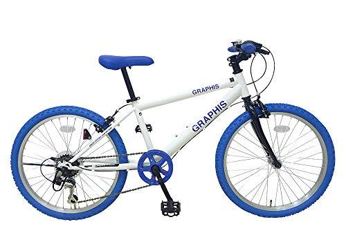 GRAPHIS(グラフィス) 子供用自転車 クロスバイク 22インチ 6段変速 スキュワー式 ジュニアサイクル キッズサイクル GR-001KIDS22 ホワイト/ブルー