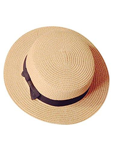 Love Berry ラブベリー レディース 帽子 かんかん帽 ストローハット 麦わら帽子 ホワイト ベージュ ブラウン ブラック リボン (フリーサイズ, ベージュ)