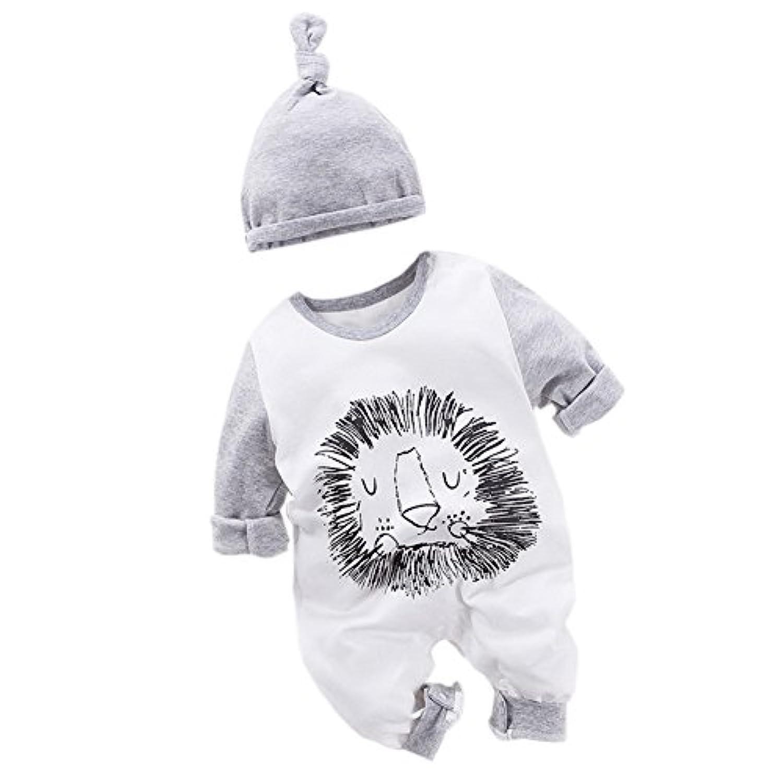 エルフ ベビー(Fairy Baby)新生児服 長袖 カバーオールロンパース 帽子 肩開き ライオン模様(白+灰) 66cm