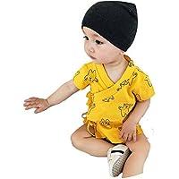 クマ柄 浴衣 パジャマ 甚平 半袖 新生児 ベビー用 上下セットイエロー90cm