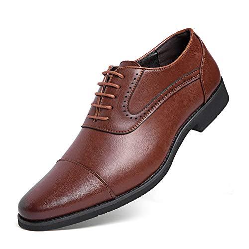 [Kitlilur] ビジネスシューズ メンズ 紳士靴 革靴 ドレスシューズ 靴 シークレット 高級レザー 外羽根 ストレートチップ 防水防滑 軽量 通気性 冠婚葬祭 ブラック ブラウン 大きいサイズ(J5207-Brown-25cm)