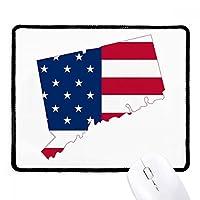 米国のマップトリッパconnectic星旗の形 ノンスリップパッドゲームオフィスブラックtitchedエッジの贈り物