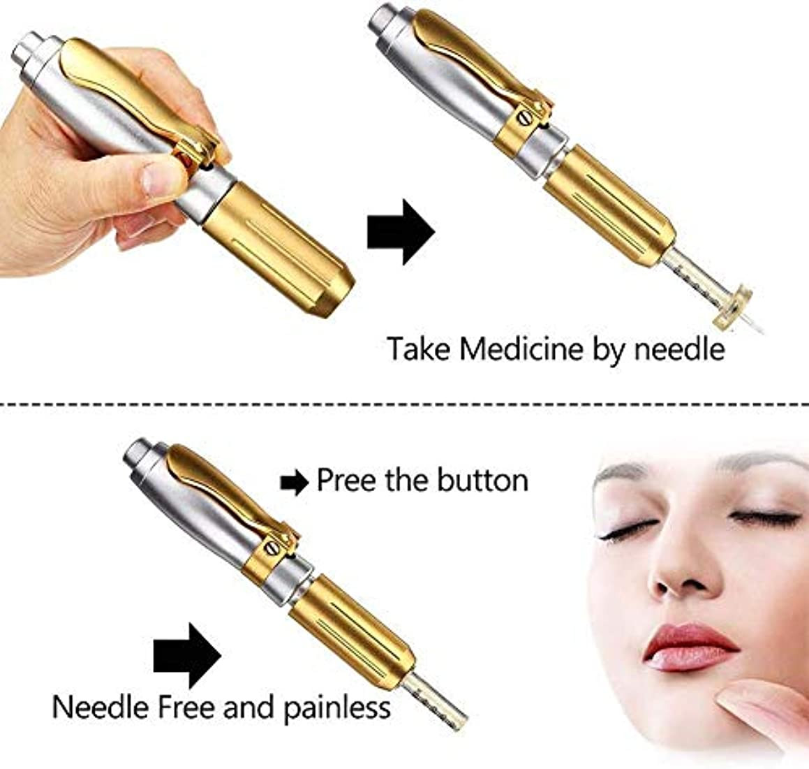 常識ピッチ弱めるヒアルロンペンスキンケアマシン針なしのヒアルロン注射ペンしわの除去水インジェクターアトマイザー肌の若返り