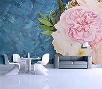 Bzbhart カスタム任意のサイズ3D壁画壁紙北欧スタイル新鮮な牡丹大理石ソファテレビ背景壁装飾壁画壁紙-120cmx100cm