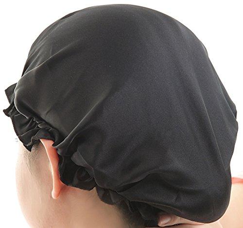 Sunset House シルク100% ナイトキャップ 室内帽子 保湿 寝ぐせ 枝毛 切れ毛 防止 かわいい ブラック