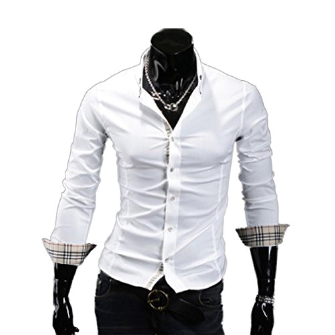 スマート散るケーキHonghu メンズ シャツ 長袖 チェック柄? カジュアル ホワイト XL 1PC