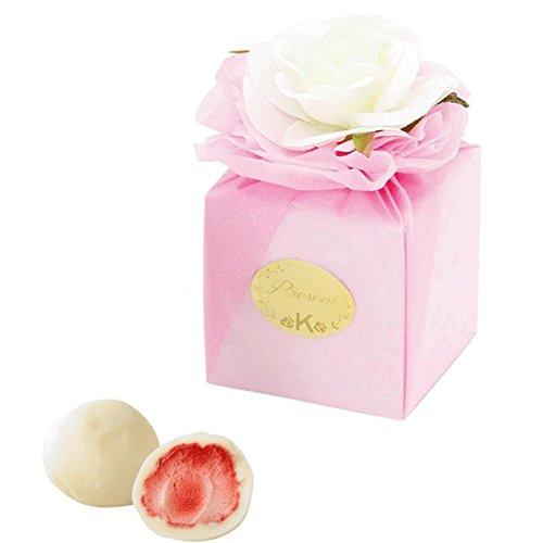 ホワイトローズ付きボックスのプチギフト(ピンク)(ホワイトいちごチョコ2個入り)1個【結婚式 二次会 パーティ】