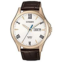 Citizen Men's Quartz Wrist Watch analog Display and Leather Strap, BF2023-01A