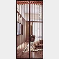 磁気スクリーンドア 蚊のカーテン, マジックテープ 夏 世帯 ガラス繊維 昆虫対策 穴あけ不要-80×210センチメートル-コーヒー