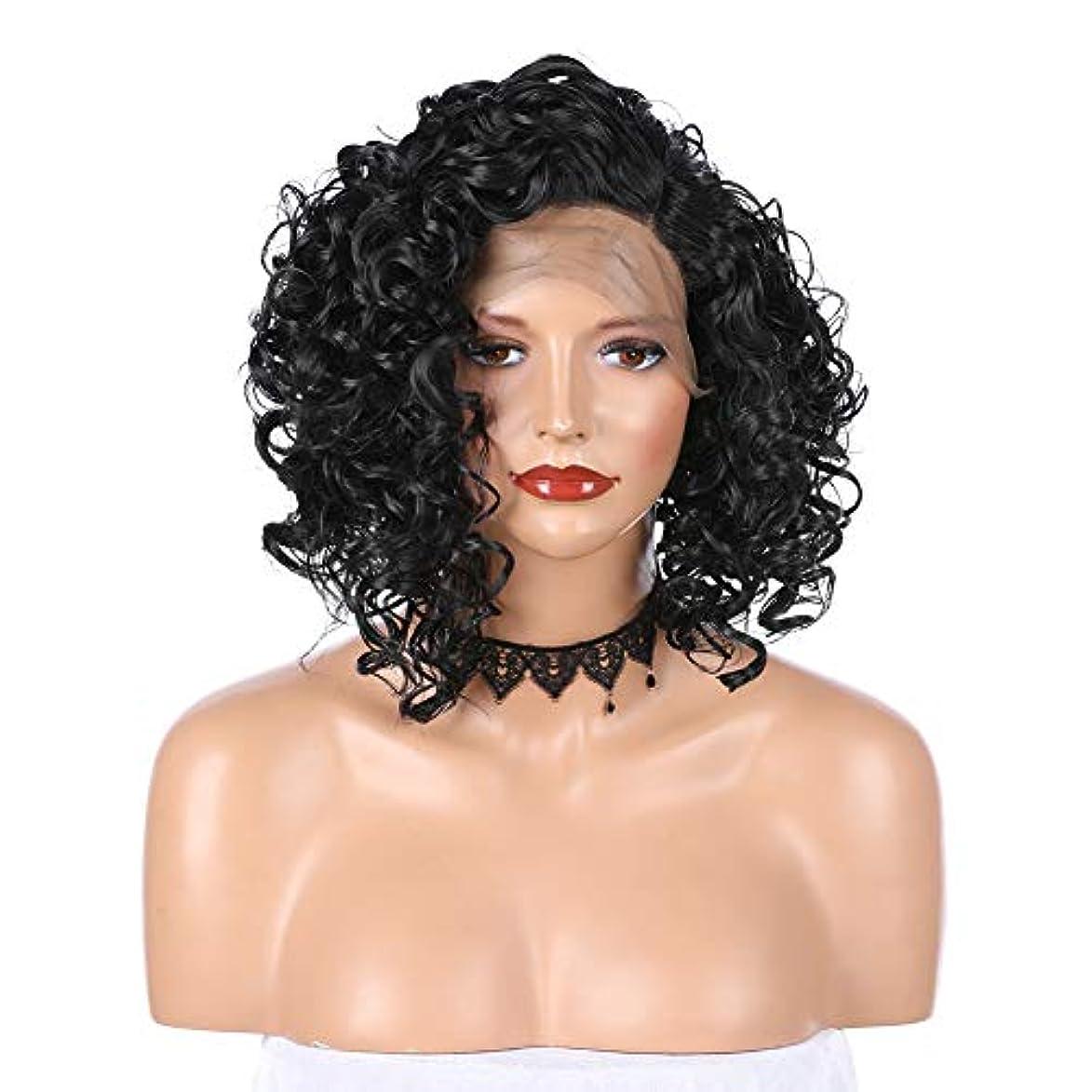 口頭印象派盗賊slQinjiansav女性ウィッグヘッドバンドフロントレースブラジルショートカーリーブラックウィッグ女性ナチュラルパーティー合成髪