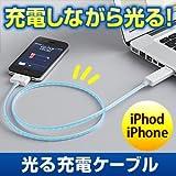 サンワダイレクト 光るiPhone/iPad/iPad2 USB充電・通信ケーブル <新商品 人気急上昇!> DWA063