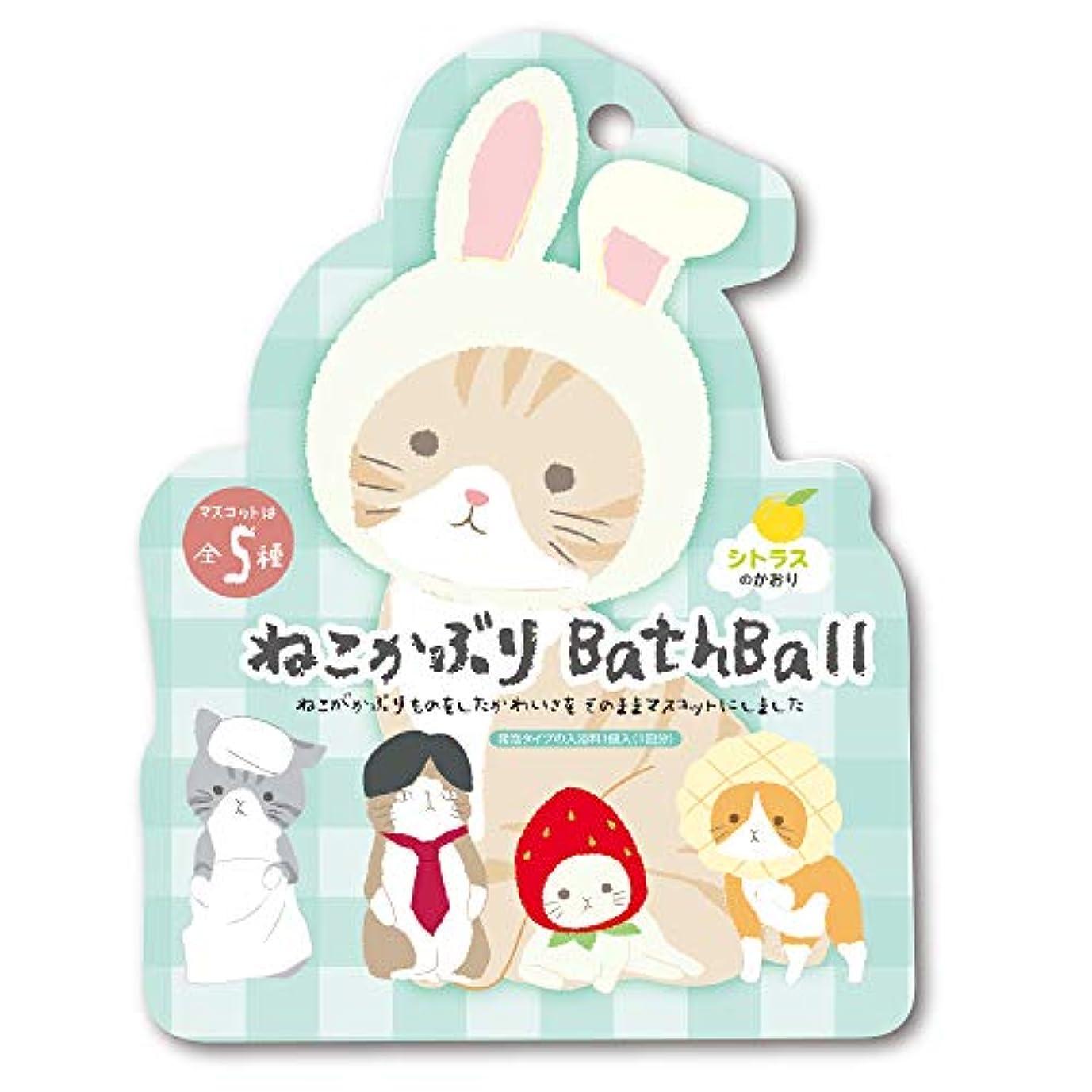 カバー受付夜明けねこかぶり 入浴剤 バスボール おまけ付き シトラスの香り 50g OB-NEB-3-1