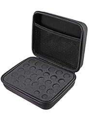 Frcolor エッセンシャルオイル 収納ケース アロマケース 収納ボックス ハンドル付 携帯 アロマポーチ アロマケース 精油ケース 5ml 10ml 15ml 12格 大容量(ブラック)