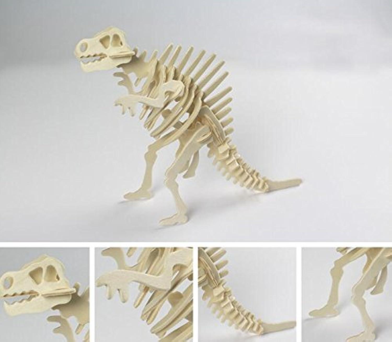 HuaQingPiJu-JP クリエイティブ木製3Dパズルアーリーラーニング恐竜おもちゃ子供のための素晴らしいギフト(スピノサウルス)