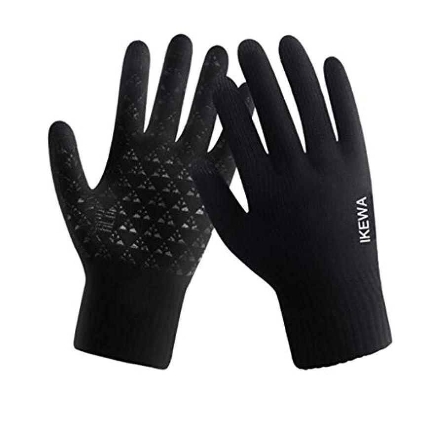 ボリューム侮辱より冬の羊毛の手袋、男性と女性、サイクリング、暖かいニット、タッチスクリーン、5本指の手袋、黒(男性)