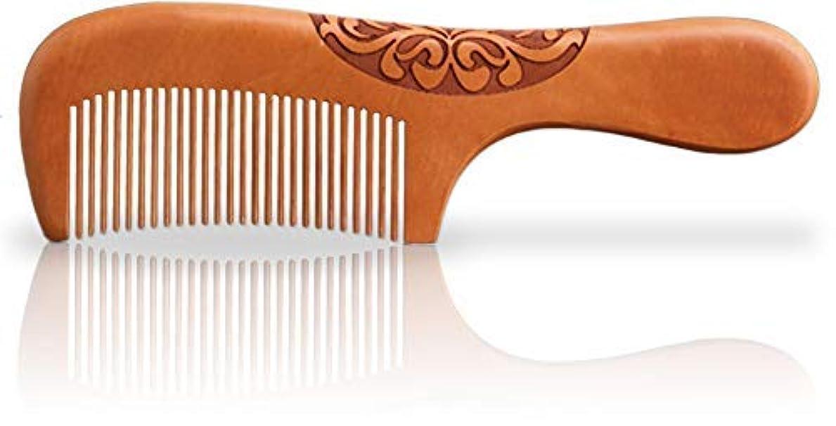 帳面銀河腐ったWooden Hair Comb, Anti-Static, Detangling, Great for Hair, Beard, Mustache, Natural Peach Wood [並行輸入品]