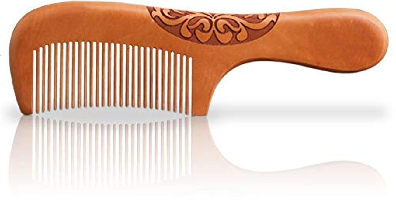 オリエンタル気晴らしドナーWooden Hair Comb, Anti-Static, Detangling, Great for Hair, Beard, Mustache, Natural Peach Wood [並行輸入品]