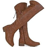 Guilty Heart Women Knee High Riding Low Chunky Heel Boots - Comfortable Side Zipper Buckle Biker Boots Brown Size: 9