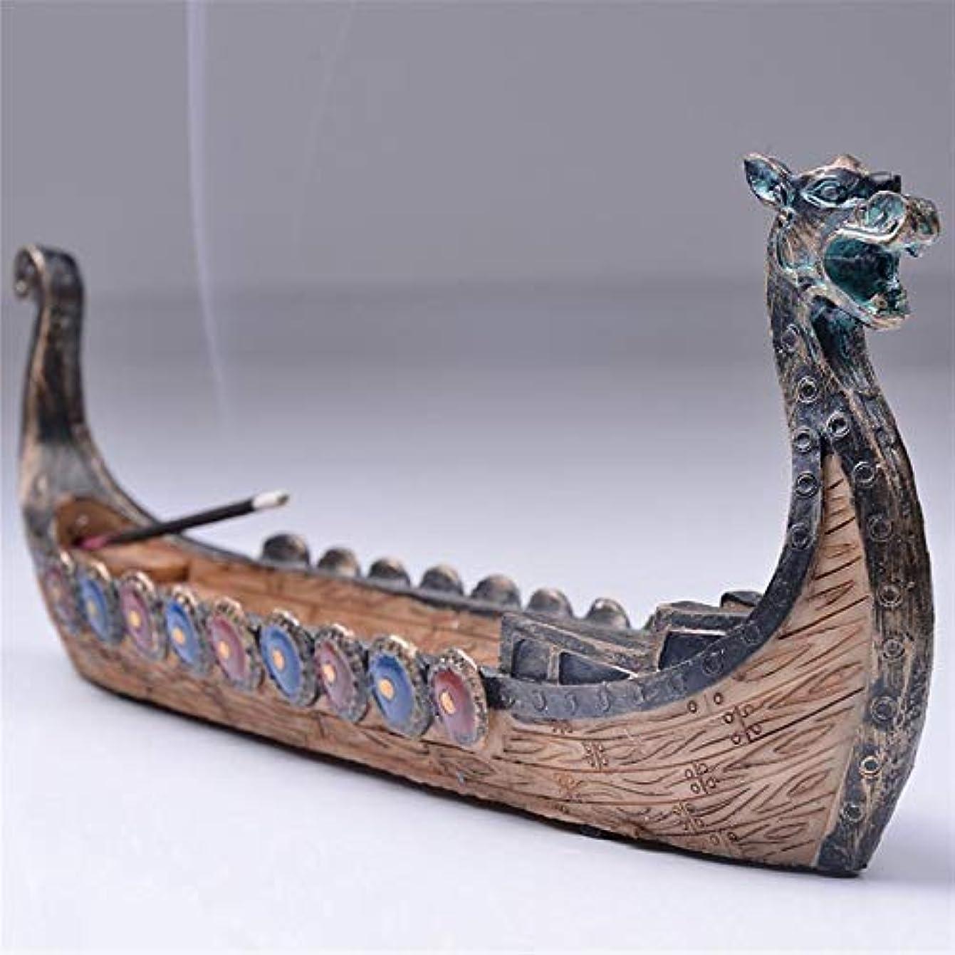 争う嘆願甘いOchoos ドラゴンボート 線香ホルダー バーナー 手彫り 彫刻 香炉 オーナメント レトロ 香炉 伝統的デザイン #SW