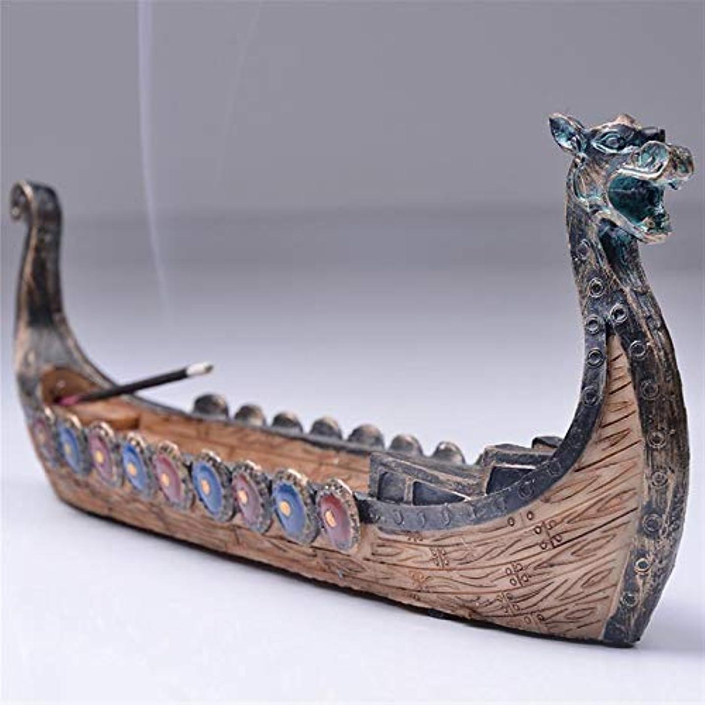 ファイターにおい想定するOchoos ドラゴンボート 線香ホルダー バーナー 手彫り 彫刻 香炉 オーナメント レトロ 香炉 伝統的デザイン #SW