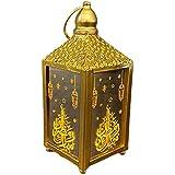 Vintage Ramadan Lantern with LED, 3D Holographic Star Light Small Indoor Table Decor for Wedding Centerpiece or Ramadan Decor