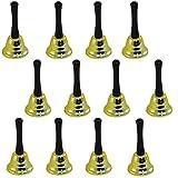 ゴールド調 メタル ウェディング ハンドヘルド クリスマス ベル リング キス用 12個
