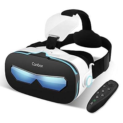 Canbor VRゴーグル VRヘッドセット 4−6.3インチ スマホ 対応 iPhone Samsung 3D 動画 ゲーム メガネ外観 Bluetoothコントローラ リモコン