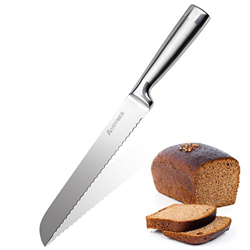 AUGYMER パン切り包丁 パン切りナイフ ステンレス鋼 刃渡り 200mm パンナイフ 一体型 ブレッド包丁 波型の...