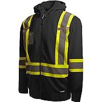 Terra 116506BKM High-Visibility Detachable Hood Reflective Safety Hoodie, Medium, Black