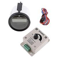 B Blesiya アワーメーター 2 インチラウンドゲージ LEDストリップライト PWM調光 コントローラーディマー