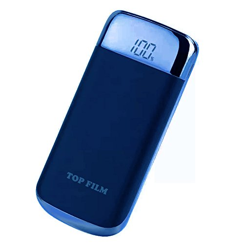 TOP FILM 10000mAh モバイルバッテリー 軽量 薄型 大容量 USB2ポート 2台同時充電可能 2.1A iphone スマホ 充電器 LEDライト付き 急速充電器 (ネイビー)
