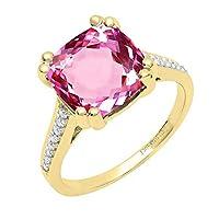 18K イエローゴールド 10mm クッション人工宝石&ラウンドホワイトダイヤモンド 婚約指輪