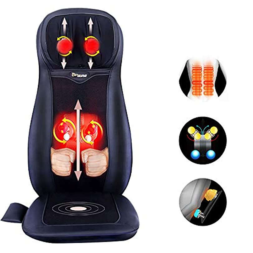 カウボーイ宝彼女の指圧マッサージシートクッション - 2D / 3Dの2イン1モードに戻るマッサージ熱、指圧マッサージチェアのシートクッション、バックとネックマッサージ(黒)と