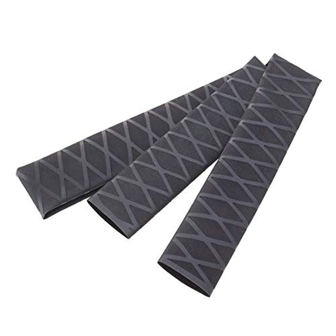 頼む肌寒い半径LIOOBO ノンスリップチューブラップチューブ保護ポリオレフィン熱収縮滑り止めロッドアクセサリーハンドルスリーブカバー(ブラック)