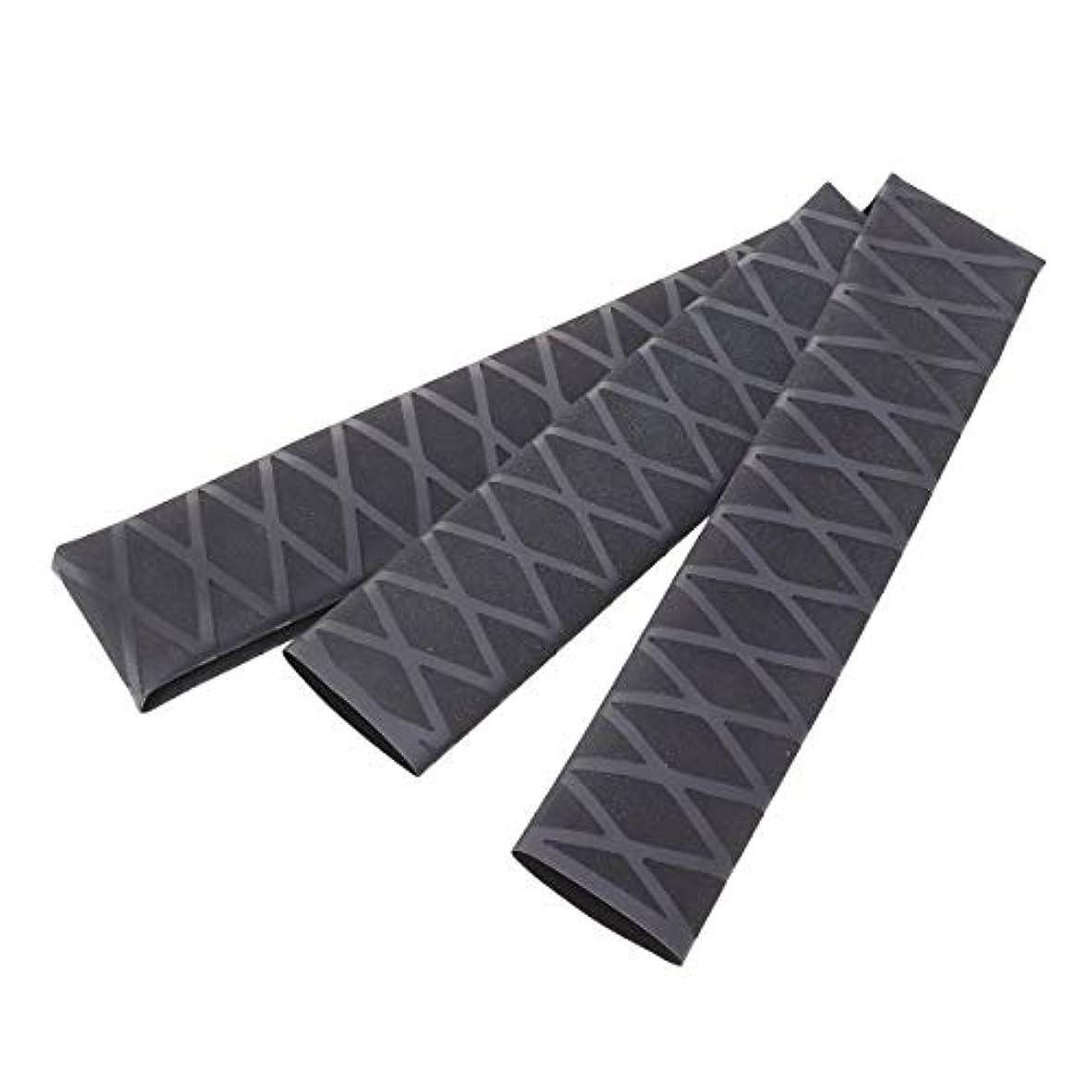 LIOOBO ノンスリップチューブラップチューブ保護ポリオレフィン熱収縮滑り止めロッドアクセサリーハンドルスリーブカバー(ブラック)