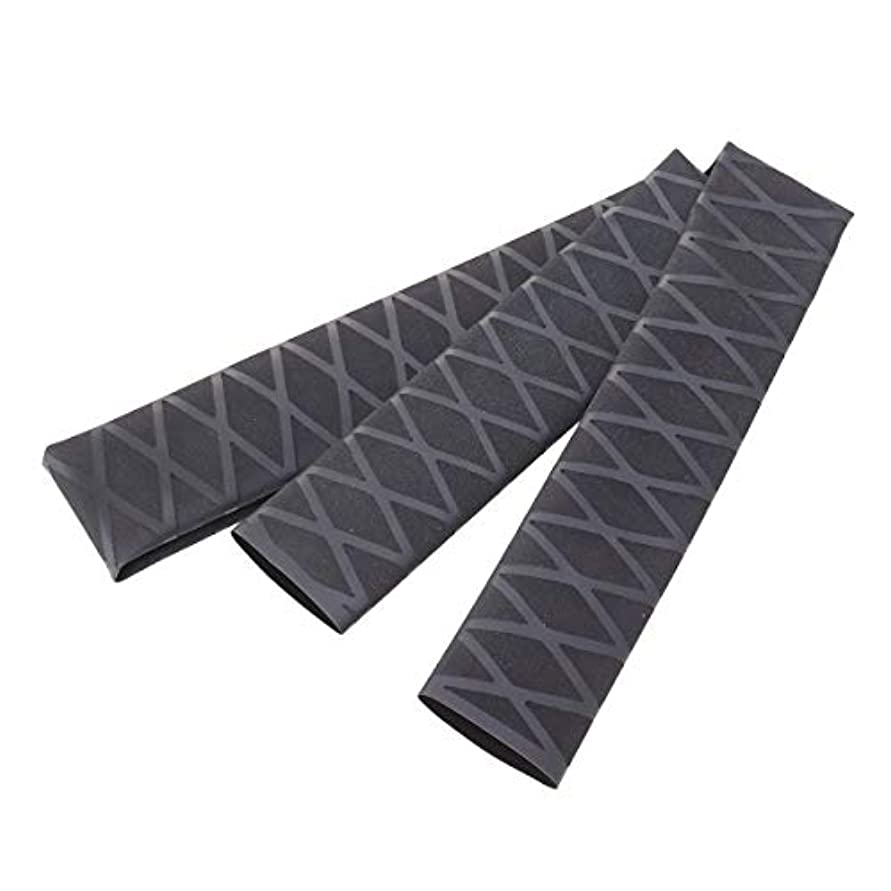 フェミニンリラックスばかLIOOBO ノンスリップチューブラップチューブ保護ポリオレフィン熱収縮滑り止めロッドアクセサリーハンドルスリーブカバー(ブラック)