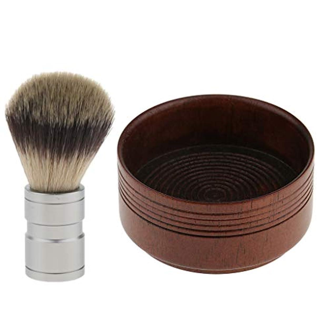 流用する動機付けるピカリングシェービング用アクセサリー シェービングブラシ 木製 シェービングボウル 髭剃り 泡立ち 理容 洗顔 2点