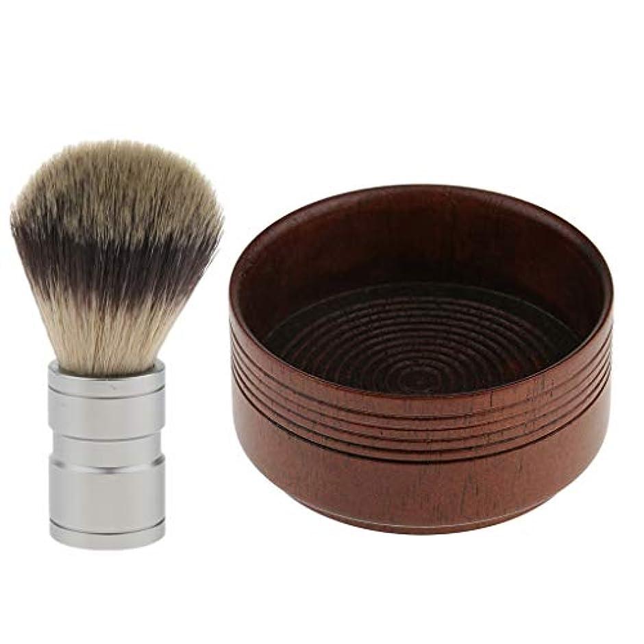 一晩どういたしましてポイントシェービング用アクセサリー シェービングブラシ 木製 シェービングボウル 髭剃り 泡立ち 理容 洗顔 2点