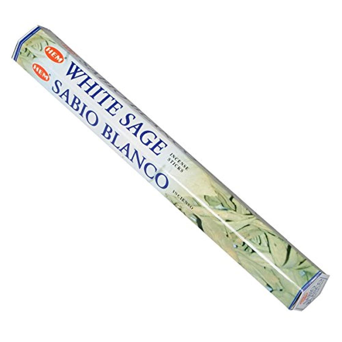 不機嫌そうな締める組み込むHEM(ヘム) ホワイト セージ WHITE SAGE スティックタイプ お香 1筒 単品 [並行輸入品]