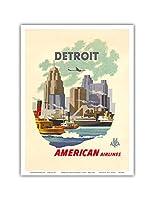 デトロイトミシガン州 - アメリカン航空 - デトロイトスカイライン - ビンテージな航空会社のポスター によって作成された ベルン・ヒル c.1950s - アートポスター - 23cm x 31cm