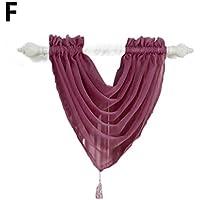 15色カーテンSwagボイルカーテンPelmet飾り布ウィンドウホーム装飾 ベージュ