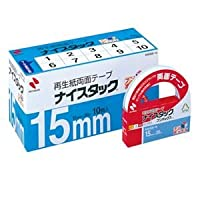 (まとめ) ニチバン ナイスタック 再生紙両面テープ ブンボックス 大巻 15mm×20m NWBB-15 1パック(10巻) 【×2セット】