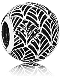 PANDORA Charms Sterling Silver Original Abstract Spacer Tropicana Palm Leaf Charm