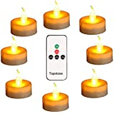 Topstone Led Tealight Candles with Remote and TimerAmber Flameless CandlesBig Capacity Battery Operated Tea LightBest for Wed