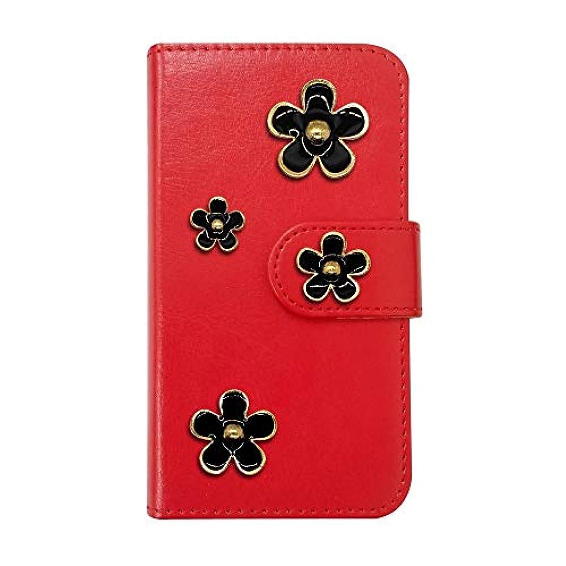 クローゼットデンマーク嘆願sslink ZenFone5Q ZC600KL ASUS 手帳型 スマホ ケース デイジー/黒 花柄 デコ おしゃれ かわいい (カバー色レッド) ダイアリータイプ 横開き カード収納 フリップ カバー スマートフォン